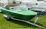 Picture: 15 Fiberglass Boat w/ Evenrude 8.5HP Motor & Trailer
