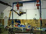 Picture: Shop Gantry 13W X 13H W/2- 3 Ton X 110V Electric Hoists & Rolling Blocks